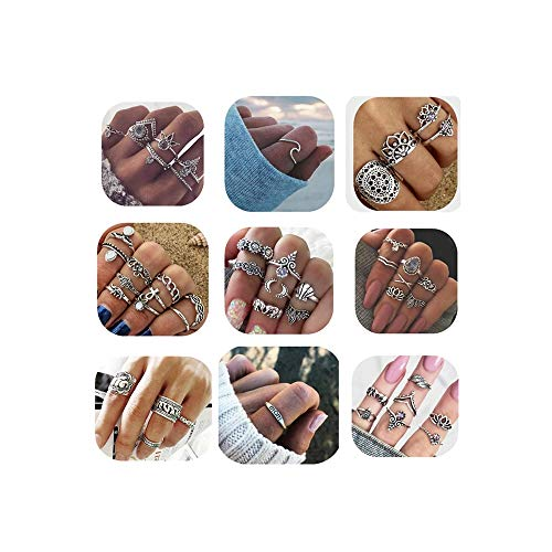 ANGELANGELA Vintage Assorted Mixed 49Pcs Stacking Rings, Antique Silver Joint Above Knuckle Nail Midi Band Statement Stackable Cuff Toe Finger Ring Set