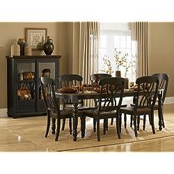 Homelegance Ohana 7 Piece Dining Table Set in Black/Warm Cherry