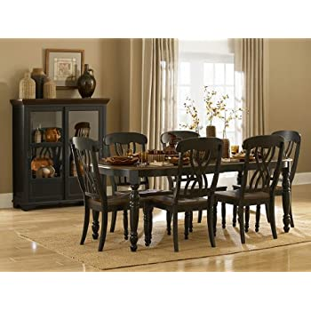 Homelegance Ohana 7 Piece Dining Table Set In Black/Warm Cherry