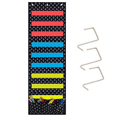 Eamay Hanging Wall File Organizer - Storage Pocket Chart with 3 Hooks on Doors and Walls 9 Big and 3 Accessories Pockets for Space Saving and Storage Folders Mail Sorters (Anchor Pattern)