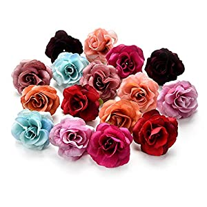 Csoudna Fake Flowers Heads for Decoration Crafts Bulk Mini Artificial Flower Heads Silk Roses Heads Wedding Decoration Peony Party Scrapbooking Floral Wreath Home Accessories Decor 30pcs/lot 4cm 23