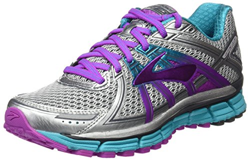 Brooks Women's Adrenaline GTS 17, Silver/Purple Cactus Flower/Bluebird, 6.5 B-Medium
