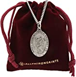 All Patron Saints Oval St Christopher Medal Necklace in Solid Sterling Silver Protect Us Medal 24 x 16 MM With 24 Inch Chain (Adult Male)