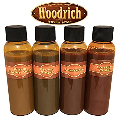 Hardwood Wiping Wood Deck & Fence Stain - Great on all Exotic Hardwood like Ipe, Garapa, Teak, Mahogany, & Cambara - Sample Color Test Kit - Woodrich Brand - 100% Guarenteed - Easy to Use