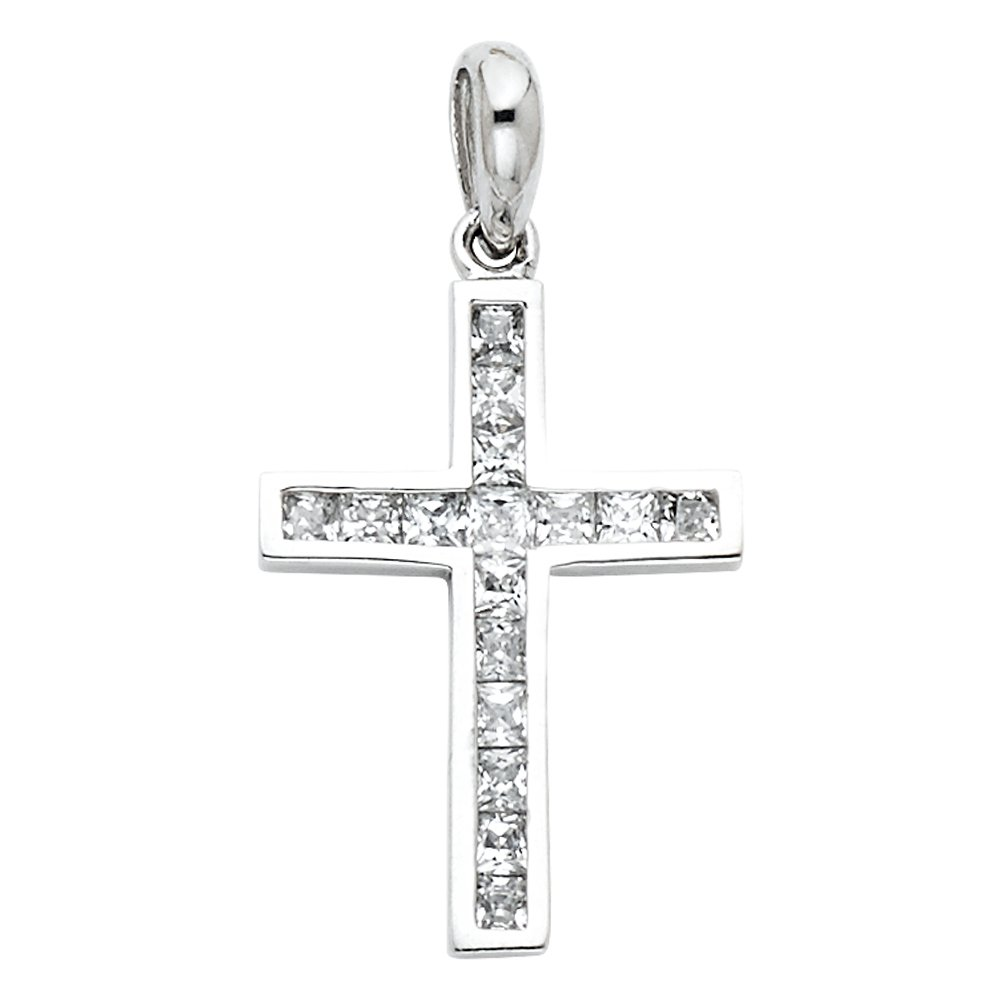 14k White Gold Cross CZ Religious Pendant Charm