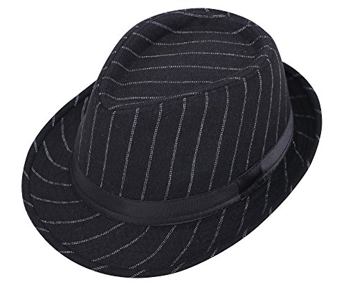 Pin Hat Shaped (Livingston Men/Women's Pin Striped Short Brim Gangster Fedora Hat Black Two Stripes)