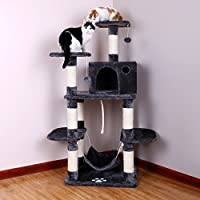 SONGMICS Cat Tree Condo with Scratching Posts Kitty Tower Furniture Pet Play House Bed