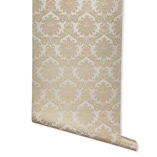 - Era, Oat/Brown/Gold Damask Wallpaper for Walls - Sample Swatch - Romosa Wallcoverings AH7006