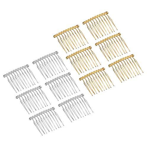 10pcs Silber Blank Metall 20 Zähne Haarkamm für Braut Haarschmuck DIY