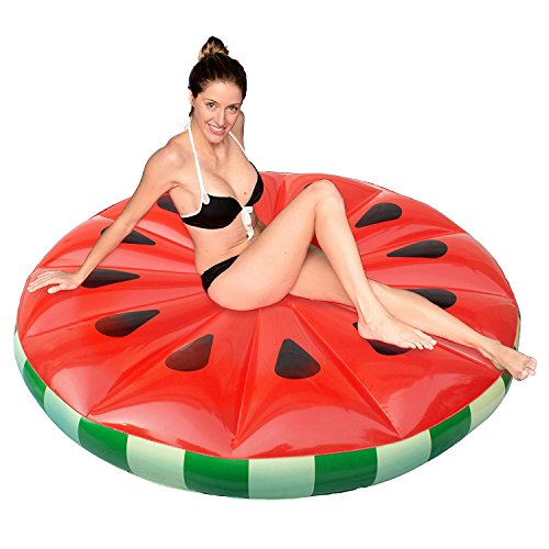 Giant 5 Ft  Watermelon Inflatable Island Float  Fruit Raft  Lounger For Summer Pool Parties