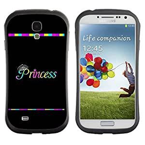 LASTONE PHONE CASE / Suave Silicona Caso Carcasa de Caucho Funda para Samsung Galaxy S4 I9500 / Rainbow Black Text Minimalist