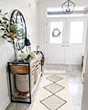 Boho Cotton Runner Rug,2'x4' Off White Geometric