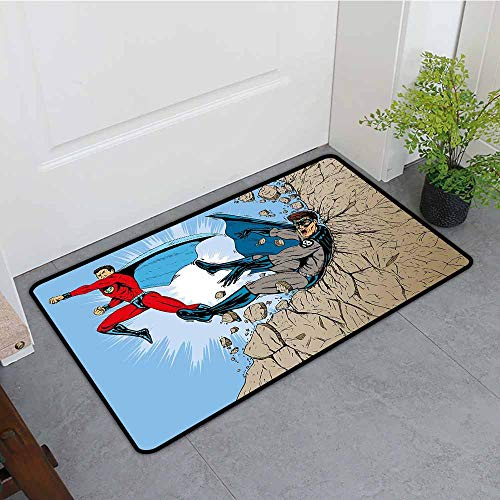 ONECUTE Funny Doormat,Superhero Old School Comic Book Hero and Villain on The Rocks Punching Kicking Cartoon,Rustic Home Decor,35