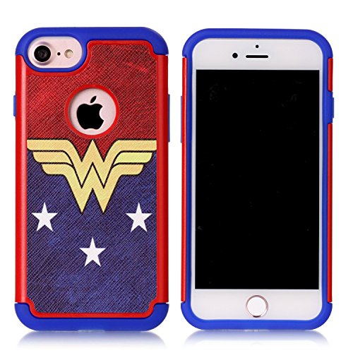 Iphone 7 Case,Iphone 7 Cover - Female Hero Wonder Women Pattern Shock-Absorption Hard PC and Inner Silicone Hybrid Dual Layer Armor Defender Protective Case Cover for Apple iphone 7