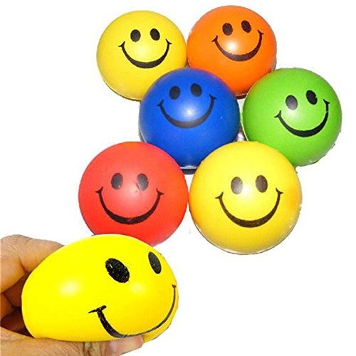 6Pcs/Set Smile Face Relax Squeeze Balls Stress Relief Ball Hand Wrist Exercise Lovely Soft PU Rubber Bouncy Toy Balls