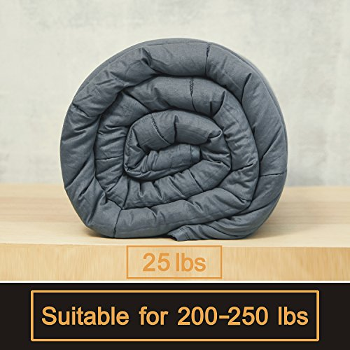Bertte Weighted Blanket (60''x 80'' Queen Size, 25 lbs, Dark Grey) for Adults, Women, Men, Children Deep Sleep | Gravity Heavy Blanket Great for Stress, Autism, ADHD, Insomnia and Anxiety Relief by Bertte (Image #4)'