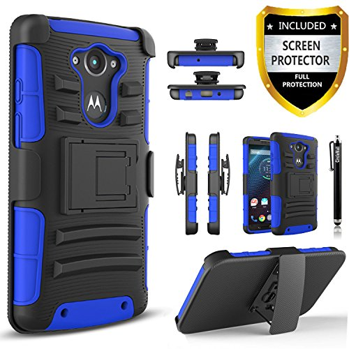 Droid Turbo Case, Motorola Droid Turbo Case, Combo Rugged Shell Cover Holster with Built-in Kickstand and Holster Locking Belt Clip Blue + Circle(TM) Stylus Touch Screen Pen