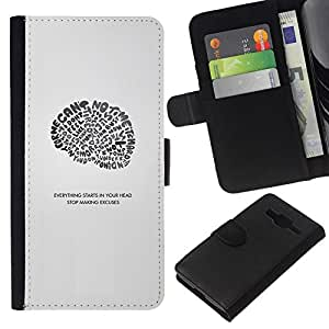 NEECELL GIFT forCITY // Billetera de cuero Caso Cubierta de protección Carcasa / Leather Wallet Case for Samsung Galaxy Core Prime // Todo comienza en su cabeza