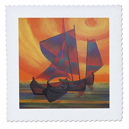 3dRose qs_46748_1 Red Sails in The Sunset Sailboat, Sails, Seascape, Semi Abstract, Boat, Sail Boat, Wooden Boat Quilt Square, 10 by 10-Inch