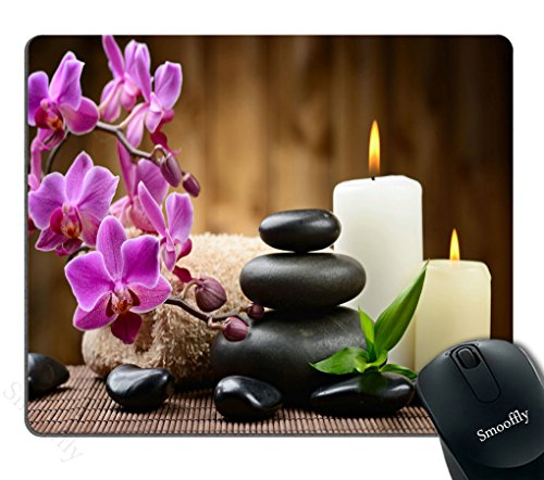 Smooffly Gaming Mouse Pad Custom, Zen Garden Theme - Stone Pink Flowers Burning Candle Personality Gaming Mouse Pad
