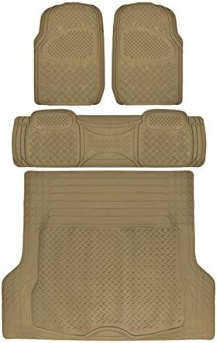 BDK 4 PC Ridged Heavy Duty Car Rubber Mats Beige – Universal Fit, 2 Row + Trunk Cargo Mat, All Weather Proctection