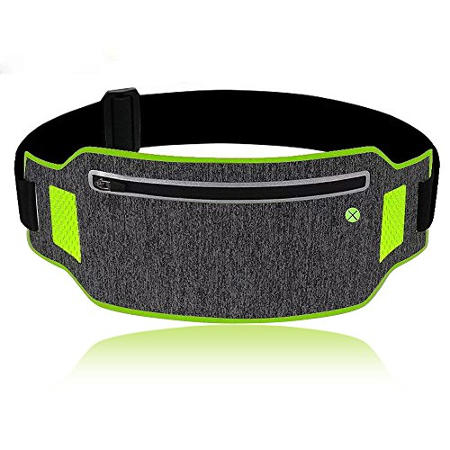 Running Waist Pack - Waterproof Sports Belt with Headphone Hole, Soft Sweat-Proof Fabric and Adjustable Elastic Strap for Waist Curve, Fitness Belt for iPhone and Samsung