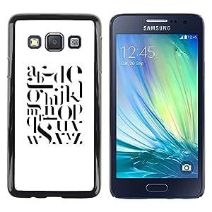 TopCaseStore / la caja del caucho duro de la cubierta de protección de la piel - Text White Black Letters Smart Minimalist - Samsung Galaxy A3 SM-A300