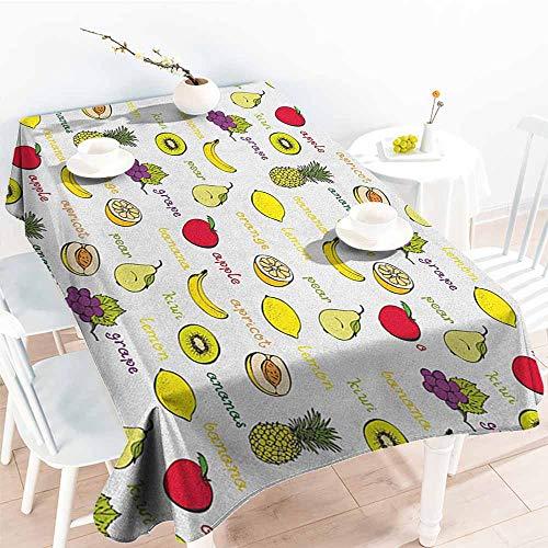 EwaskyOnline Resistant Table Cover,Fruits Kiwi Banana Plums Lemon Orange Pear Grape Apricot Kitchen Food Print,Modern Minimalist,W52x70L, Yellow Cream Purple Ruby ()