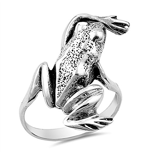 Large Frog Cute Ring New .925 Sterling Silver Band Size 7