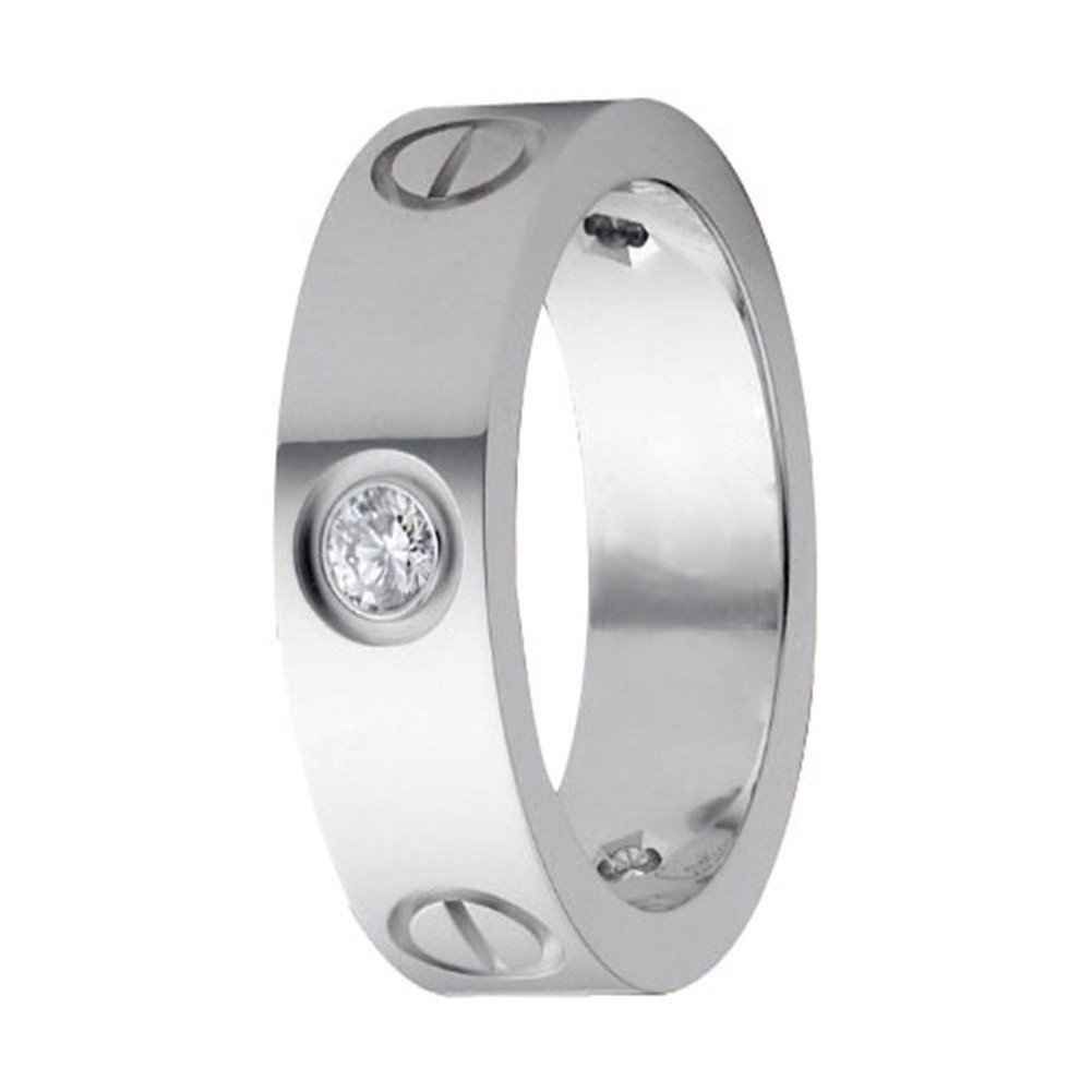 FHMZ Love Zircon Ring-Silver Lifetime Just Love You Ring 6MM in Width Sizes 6