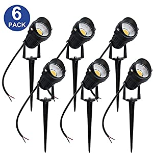 YGS-Tech 5W LED Landscape Lights 12V Low Voltage Waterproof Warm White Spotlights for Garden, Yard, Lawn, Pathway (6 Pack)