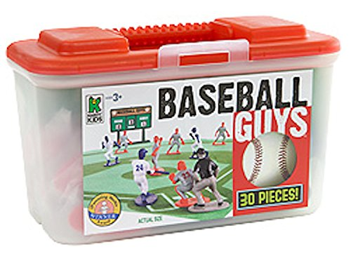 Kaskey Kids Baseball Guys: Red vs Blue - Inspires Imagination with endless hours of creative, open-ended play - 2 Full Teams & Accessories. Perfect gift for the young Baseball Fan. 25+ pieces. 3+
