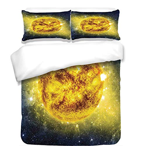 iPrint 3Pcs Duvet Cover Set,Galaxy,Panorama of Sun in Space with Luminous Effects Dynamic Center of Solar System Print,Yellow Blue,Best Bedding Gifts for Family/Friends by iPrint