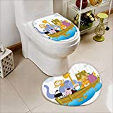 vanfan Lid Toilet Cover Old Christian Story Noahs Ark with of Animals in the Boat Journey ith Cart Machine-Washable