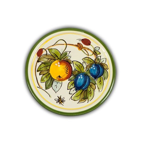 Hand Painted Italian Ceramic Bees Coaster - Handmade in Tuscany