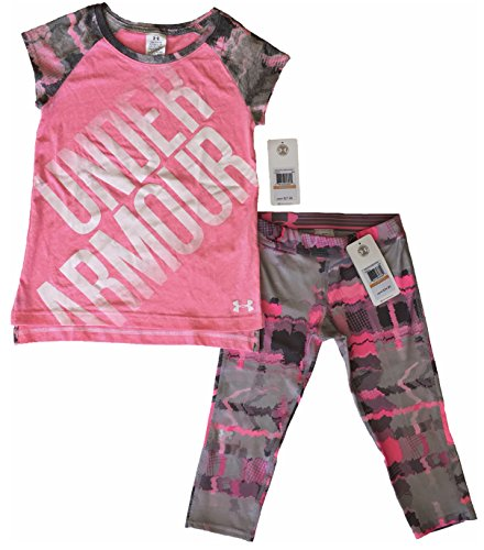 Under Armour Girls 2 Two Piece Tech Tee and Capri Pants Leggings Pink Size S (Under Armour Tech Capri)