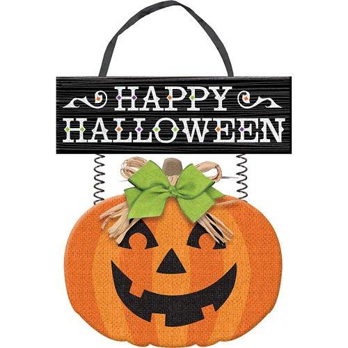 Pumpkin Decoration - Happy Halloween Jack O'Lantern Burlap Hanging Sign -