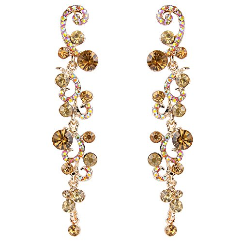 EVER FAITH Bridal Flower Wave Austrian Crystal Dangle Earrings Gold-Tone - Brown