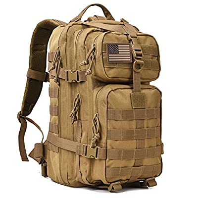 REEBOW GEAR Military Tactical Backpack 3 Day Assault Pack Army Molle Bug Out Bag Backpacks Rucksack 35L Khaki by REEBOW GEAR