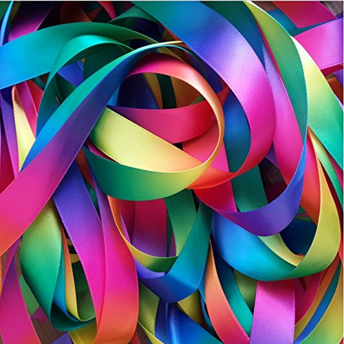 Rainbow Color Satin Ribbon for Handcraft Gift Wrapping, Double Side Colorful Printed, 1-inch Width by 50-Yard Length - Sold by Chris.W