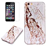 for iPhone 5/5S iPhone SE Marble Case with Screen Protector,Unique Pattern Design Skin Ultra Thin Slim Fit Soft Gel Silicone Case,QFFUN Shockproof Anti-Scratch Protective Back Cover - White