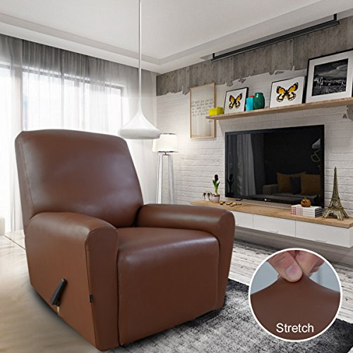 Easy-Going PU Leather Sofa Slipcovers, Waterproof Sofa Covers Couch Cover with Pocket, 4 Pieces Stretch Furniture Protector, Anti-Slip Elastic Strap Shield (Recliner, coffee1) ...