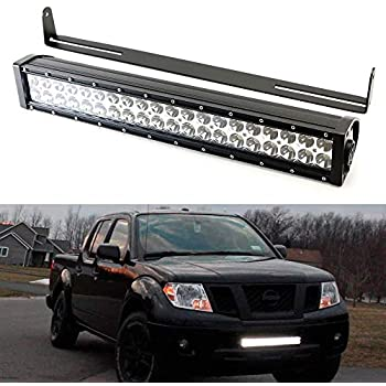 20-inch led light bar kit for 2004-18 nissan frontier, includes (1)  120w led lightbar, lower bumper opening mounting brackets & on/off switch  wiring kit