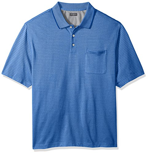(Big and Tall Flex Jacquard Short Sleeve Stripe Polo Shirt )