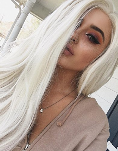 Musegetes Fashion Platinum Blonde Synthetic Lace Front Wigs Heat Resistant Long Natural Straight White Blonde Wigs Cosplay for White Women (White Blonde Wig)