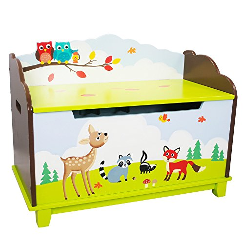 (Fantasy Fields - Enchanted Woodland Thematic Kids Wooden Toy Chest with Safety Hinges | Imagination Inspiring Hand Crafted & Hand Painted Details | Non-Toxic, Lead Free Water-based Paint )