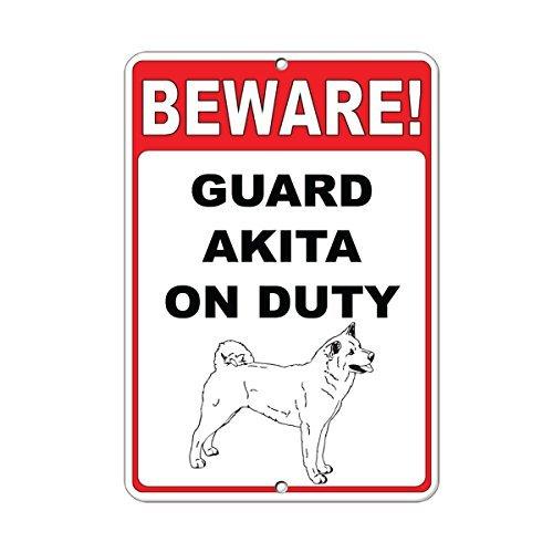 Cuidado Guardia Akita on duty Quote Sign de aluminio Metal Sign ...