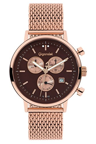 Gigandet Men's/Women's Quartz Watch Classico Analog Stainless Steel Mesh Bracelet Rose Gold Brown G6-015