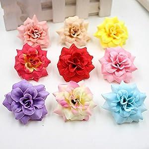 40pcs/lot 4cm Handmade Mini Artificial Silk Rose Flowers Heads DIY Scrapbooking Flower Kiss Ball For Wedding Decorative 14