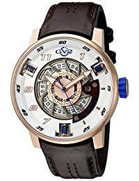 GV2 by Gevril Men's 'Motorcycle Sport' Automatic Stainless Steel and Brown Leather Casual Watch (Model: 1302)